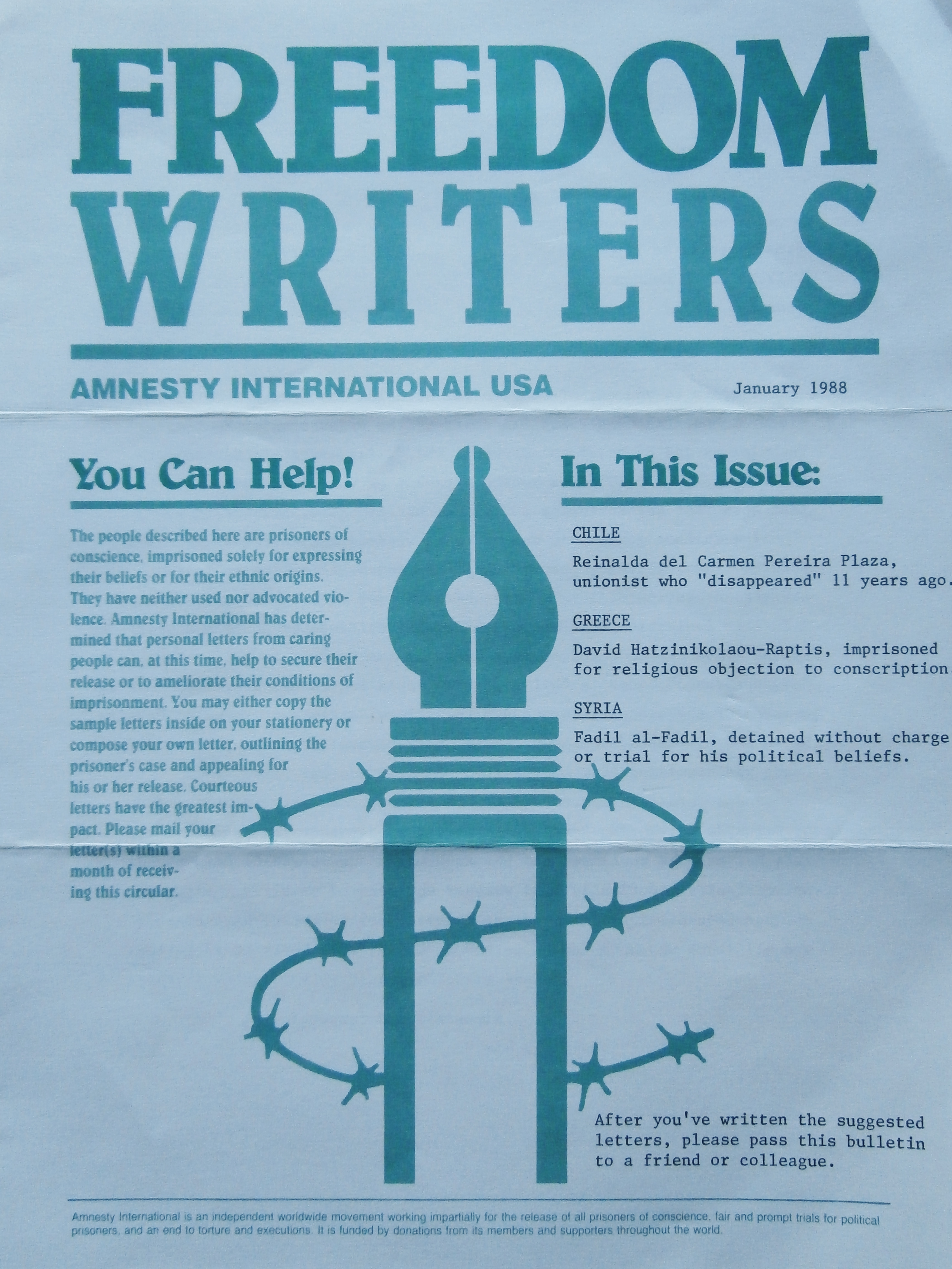 Writing together letters for amnesty a leaflet of amnesty international usa to write to three prisoners of conscience 1988 courtesy ccuart Gallery